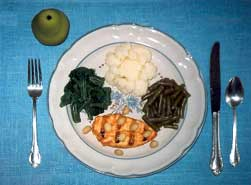 Food plate showing 1/3 protein, 2/3 veggies and fruit for dessert.